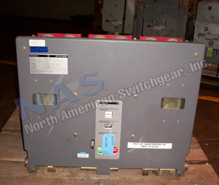 Westinghouse 50VCP250 circuit breaker pictured.