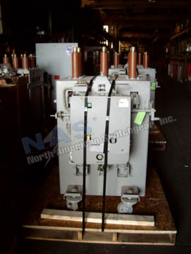 General Electric AM13.8-500-7HB Magne Blast circuit breaker pictured.