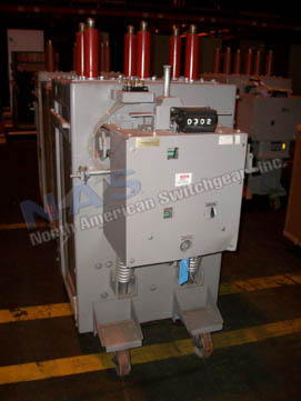 General Electric AM13.8-750-3SB Magne Blast circuit breaker pictured.