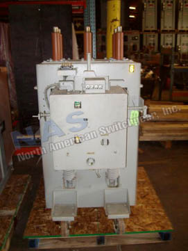 General Electric AM13.8-750-4H Magne Blast circuit breaker pictured.