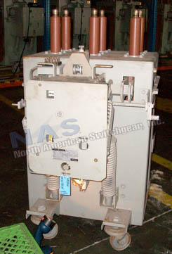 General Electric AM13.8-750-5F Magne Blast circuit breaker pictured.