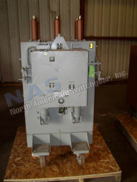 General Electric AM13.8-750-5L Magne Blast circuit breaker pictured.