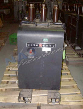 General Electric AM2.4/4.16-100/150-A3 Magne Blast circuit breaker pictured.