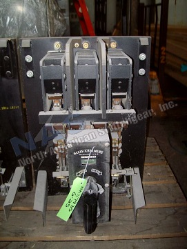 Allis Chalmers G-25 circuit breaker pictured.  Available electrically or manually operated; stationary or drawout.