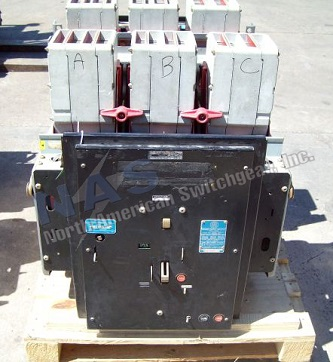 ABB K-3000 circuit breaker pictured.  Available electrically or manually operated; stationary or drawout.