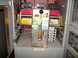 Allis Chalmers RL-800 circuit breaker pictured.  Manually or electrically operated; as-is or reconditioned.