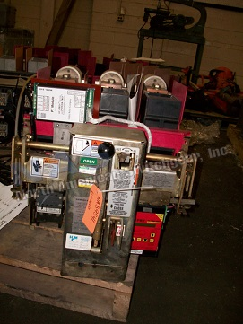 Allis Chalmers RLF-1600 circuit breaker pictured.  Manually or electrically operated; as-is or reconditioned.